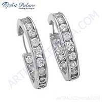 Dazzling Cubic Zirconia Gemstone Silver Hoop Earrings
