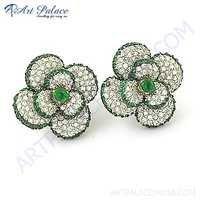 Cute Flower Style Green & White Cubic Zirconia Silver Stud Earringa