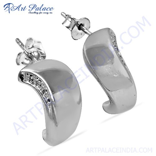 New Fashionable Cubic Zirconia Gemstone Silver Earrings