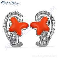 New Arrival Coral & Cubic Zirconia Gemstone Silver Earrings