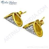 Gracious Fashionable Cubic Zirconia Gold Plated Gemstone Silver Stud Earrings