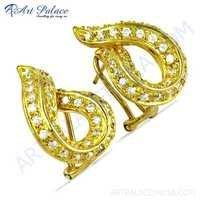 Designer Cubic Zirconia Gemstone Silver Gold Plated Earrings