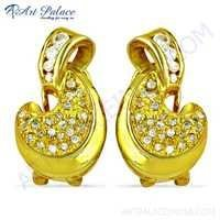 Gold Plated Unique Style Cubic Zirconia Silver Earrings