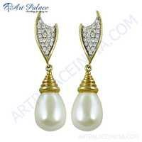 Graceful Glamour Cubic Zirconia & Shell Silver Earrings