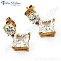 Charming Cubic Zirconia Gemstone Silver Earrings