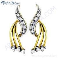 Precious Antique Cubic Zirconia Gemstone Silver Gold Plated Earrings