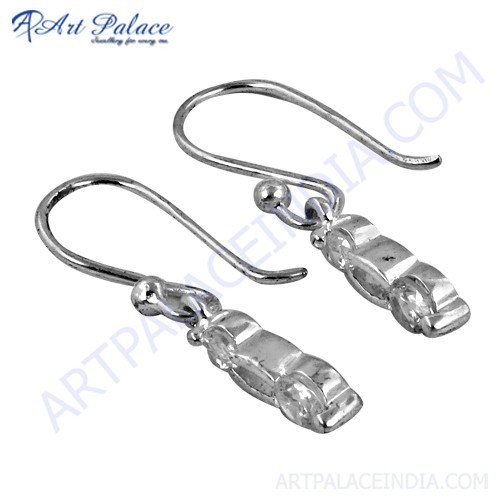 Trendy Cubic Zirconia Gemstone Silver Earrings