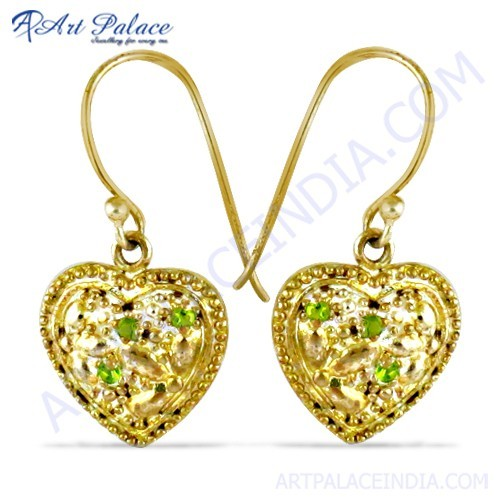 Heart Style Gold Plated Silver Earrings With Green CZ