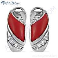 Coral & Cubic Zirconia Silver Costume Jewelry Earrings