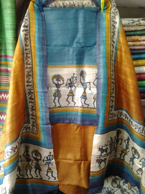 hand painted tussar silk suits worli printed