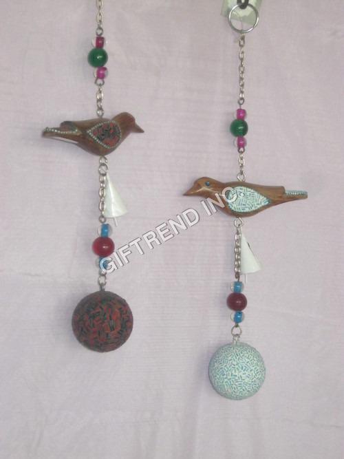 Wooden Bird with Mosaic Ball