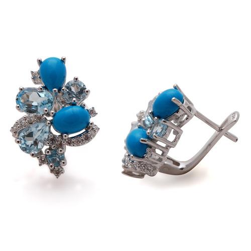 semiprecious stone earring, multi color gemstone silver earring,latest designsilver with gemstones