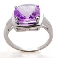 amethyst silver ring,cushion shape stone birthstone ring,birthstone ring jewelry