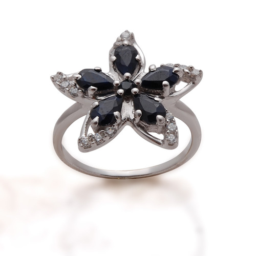 black sapphire silver ring jewelry, flower ring design, latest partywear girls ring