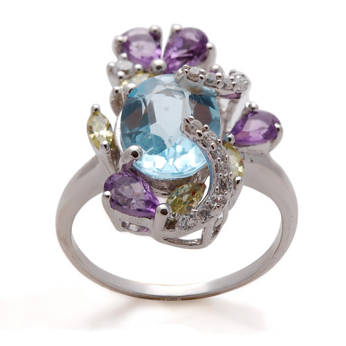 girls gemstone ring, colorful semiprecious stone silver ring, mix color stone ring trendy manufactu
