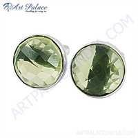High Quality Lemon Quartz Gemstone Silver Cufflinks