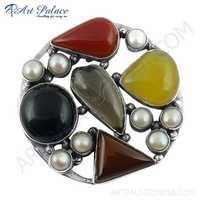 Noble Fashion Multi Stone Jewelry Silver Brooch