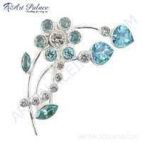 Vintage Blue Topaz & Cz Gemstone Silver Brooch