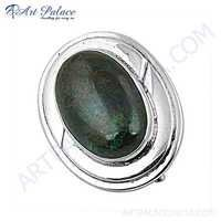 Special Oval Shaped Azurite Gemstone Silver Brooch