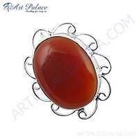 Bold & Beautiful Red Onyx Gemstone Silver Brooch