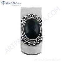 Royal Style Black Onyx Gemstone Silver Wedding Brooch