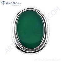 New Natural Big Green Onyx Gemstone Silver Brooch