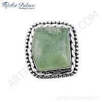 Ethnic Designer Prenite Gemstone Silver Brooch