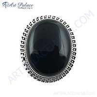 HOT Luxury Black Onyx Gemstone Silver Brooch