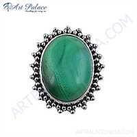 Rocking Style Malachite Gemstone Silver Brooch