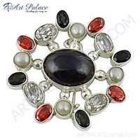 Lovely Multi Stone 925 Sterling Silver Brooch
