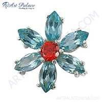 Flower Silver Brooch With Blue Topaz & Red Cubic Zirconia Gemstone