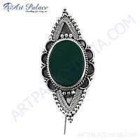 Victorian Green Onyx Gemstone Silver Brooch