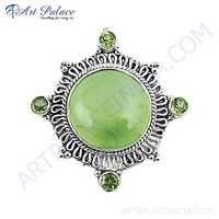 Attractive Peridot & Pernite Gemstone Silver Brooch