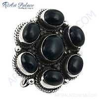 Nightlife Black Onyx Gemstone Silver Brooch