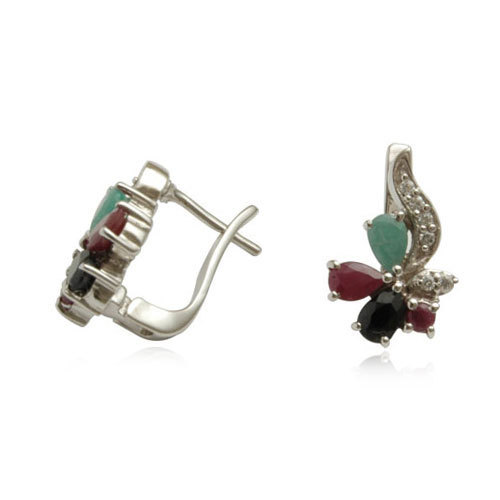 emerald silver earring design, sapphire and ruby silver jewelry online