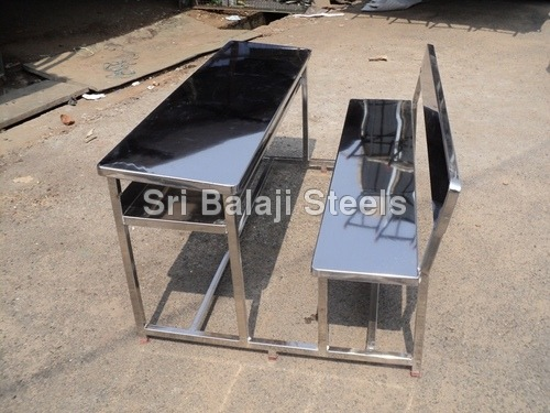Attached Stainless Steel Desk Benches