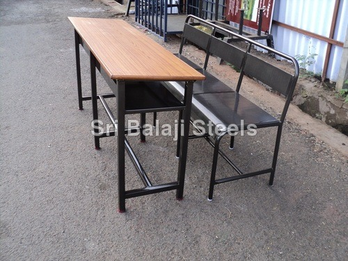 Wood & Steel Desk Bench