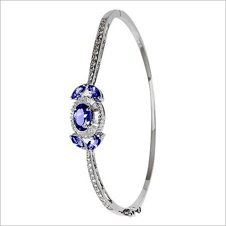 Light Weight Baguette Diamond Blue Half Bangle