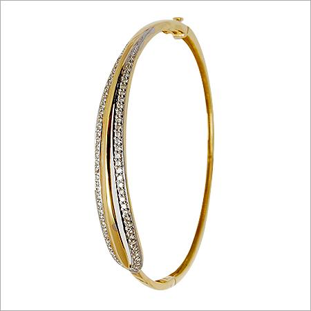Sophisticated Pave Diamond Sleek Gold Bangle