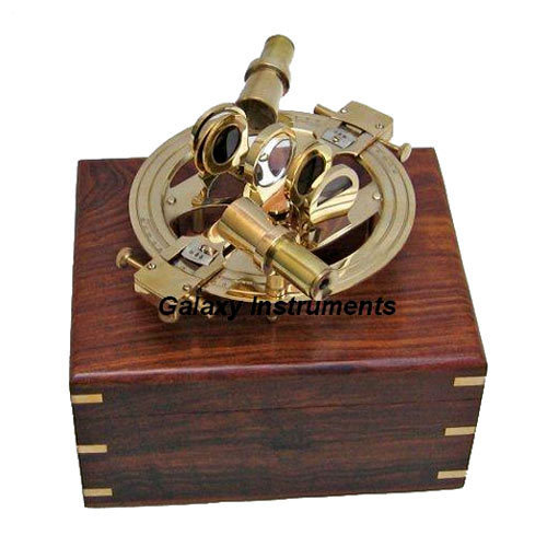 Solid Brass Round Sextant Double Telescope