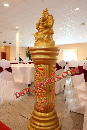 Wedding Golden Pillar With Ganesha