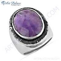 Luxurious Affrican Amethyst Gemstone Silver Ring