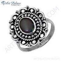 Feminine Unique Designer Opal Gemstone Silver Rings