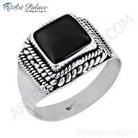 Midnight Black Onyx Gemstone Silver Designer Rings