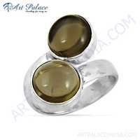 Ingenious Bypass Gemstone Silver Rings With Smokey Quartz