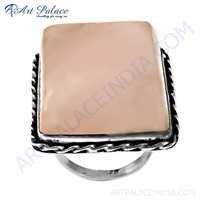 Expensive Rose Quartz Gemstone Silver Ring