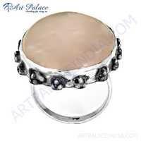 Truly Designer Rose Quartz Gemstone Silver Ring