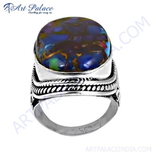 Inspired Blue Opal Turquoise Gemstone Silver Designer Ring