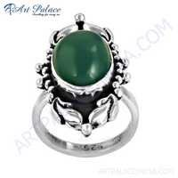 Indian Designer Green Onyx Gemstone Silver Ring