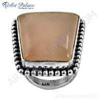 Vintage Gemstone Silver Ring With Rose Quartz